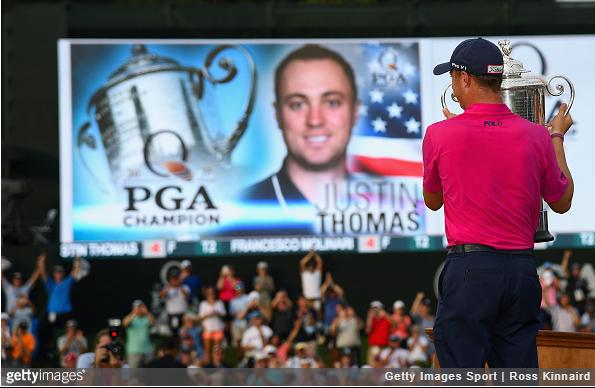 The sign says it all. Justin Thomas, PGA Champion.
