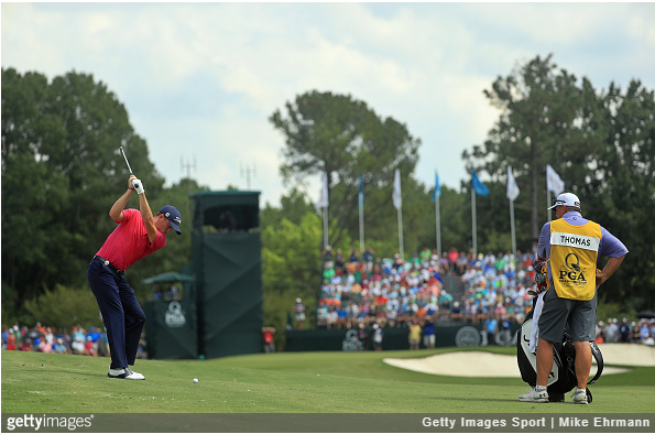 Justin Thomas swings in the final round at Quail Hollow.